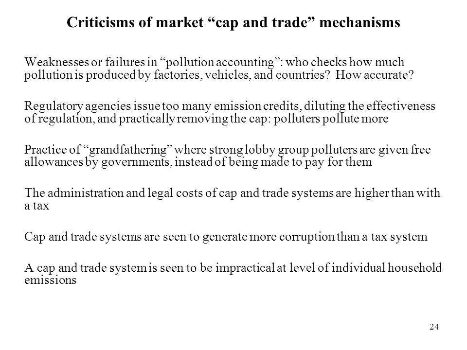 Criticisms of market cap and trade mechanisms