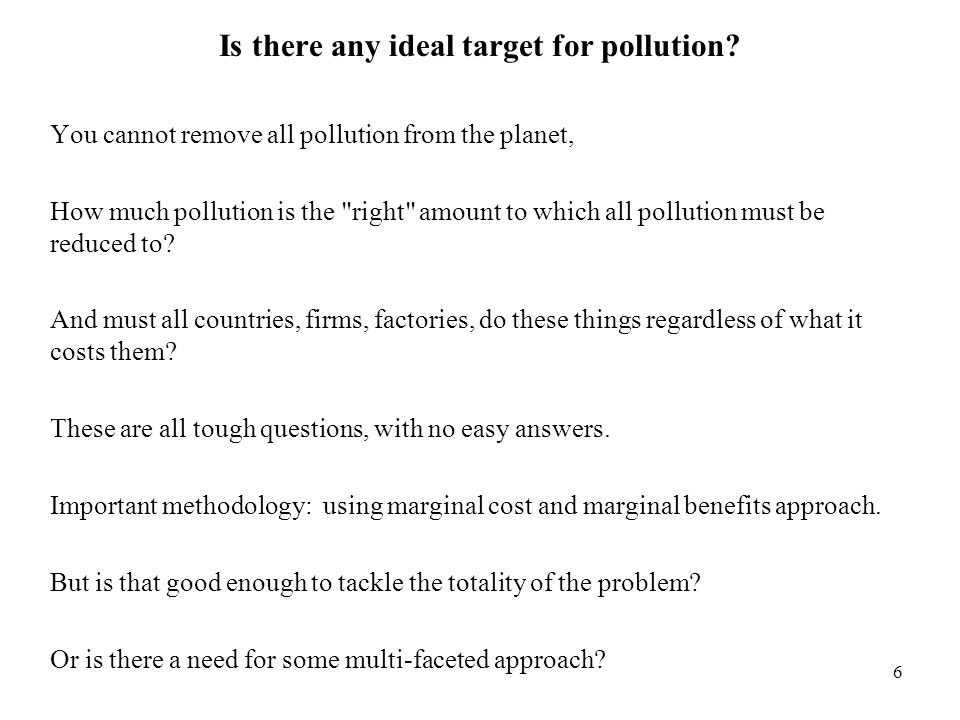 Is there any ideal target for pollution