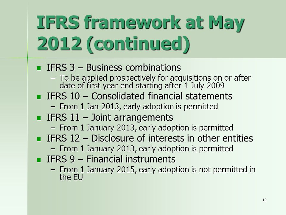 IFRS framework at May 2012 (continued)