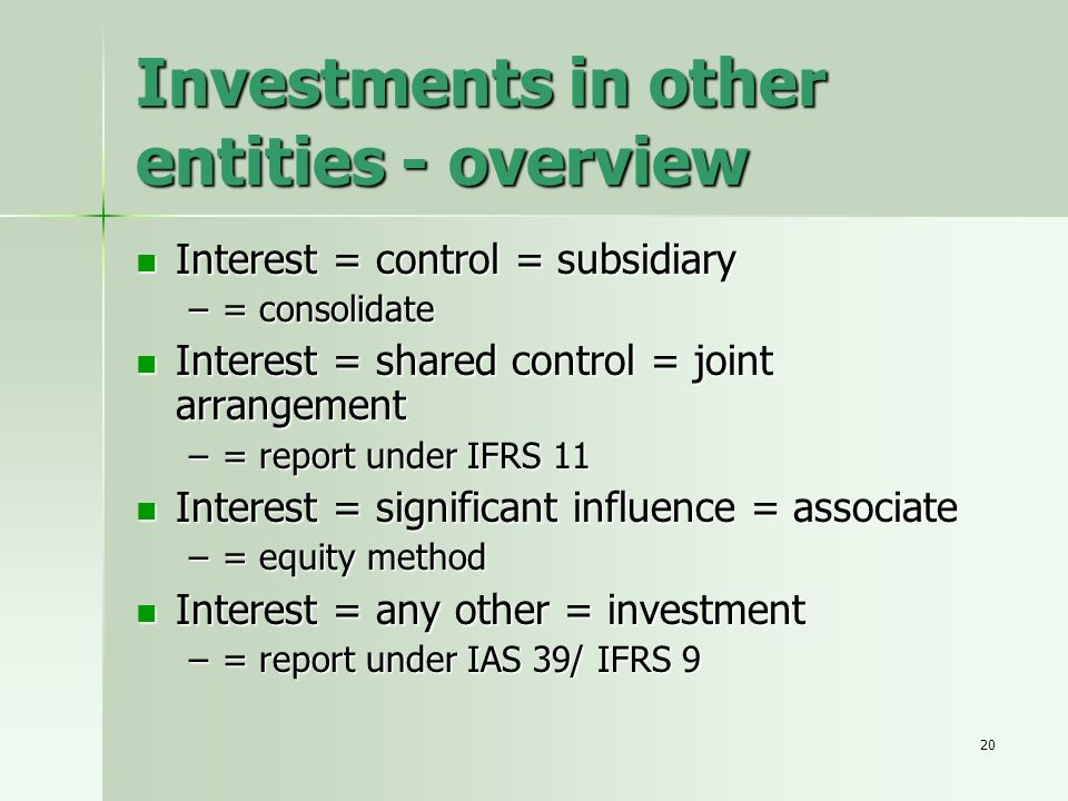 Investments in other entities - overview