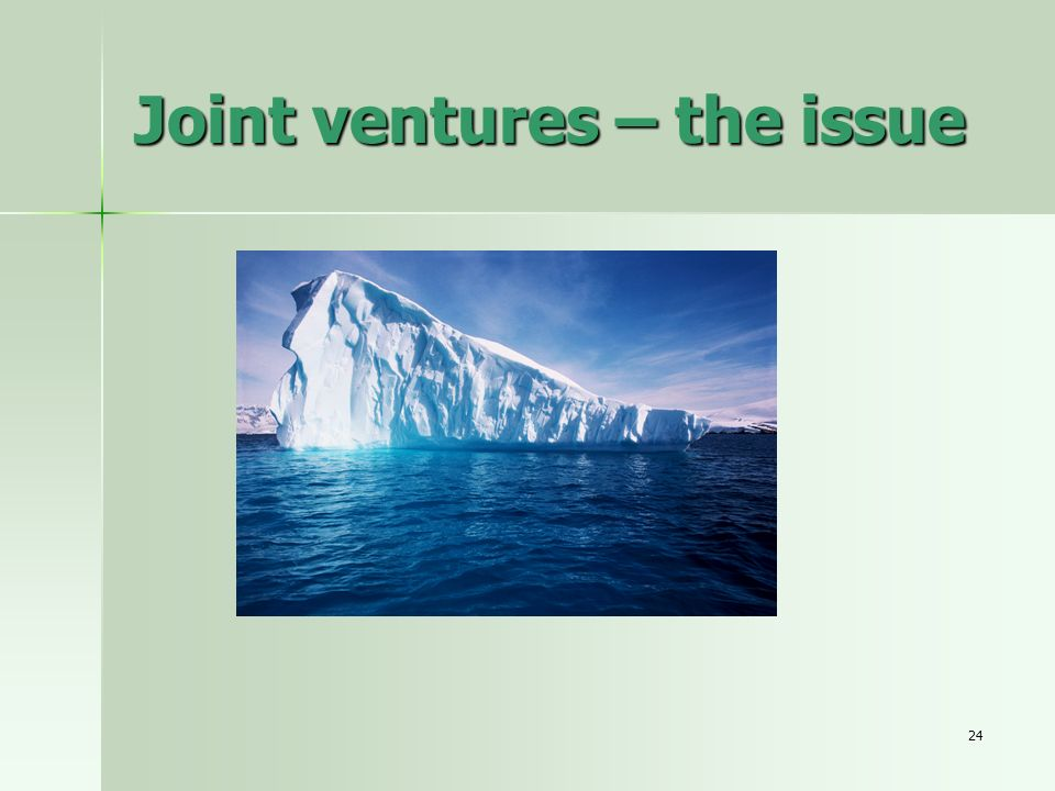 Joint ventures – the issue