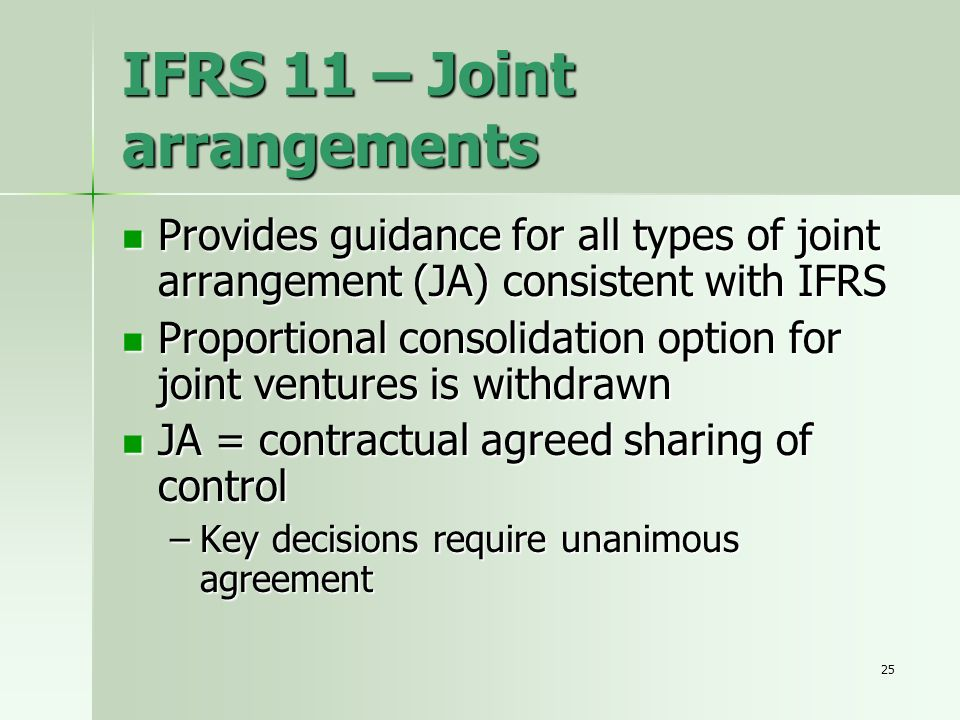 IFRS 11 – Joint arrangements