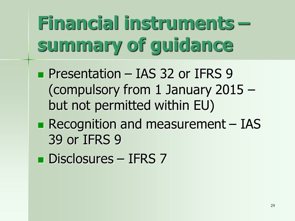 Financial instruments – summary of guidance