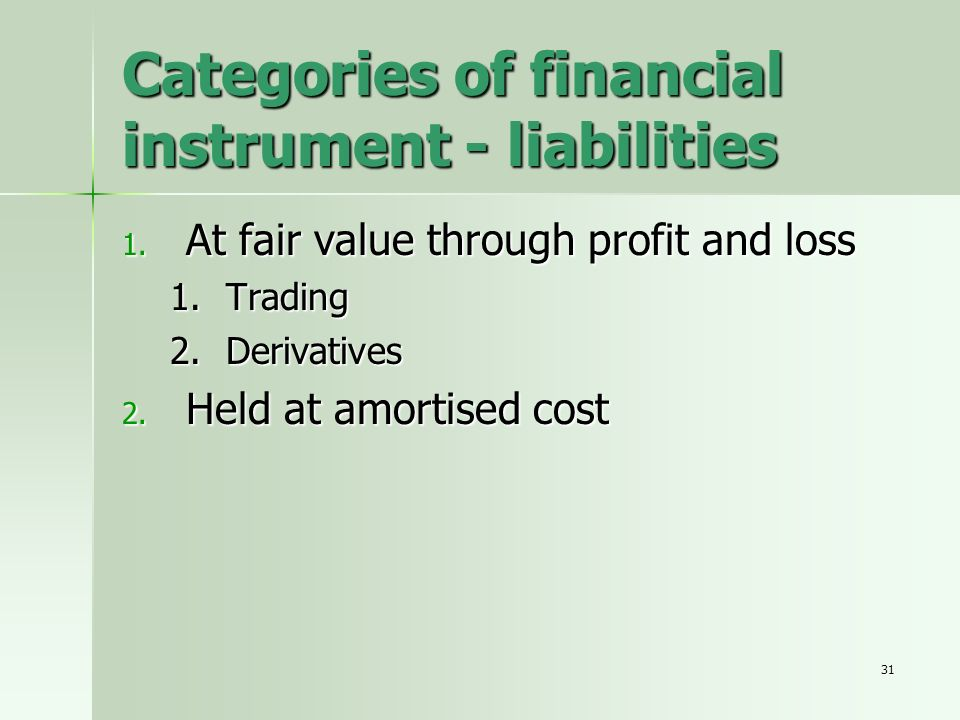 Categories of financial instrument - liabilities