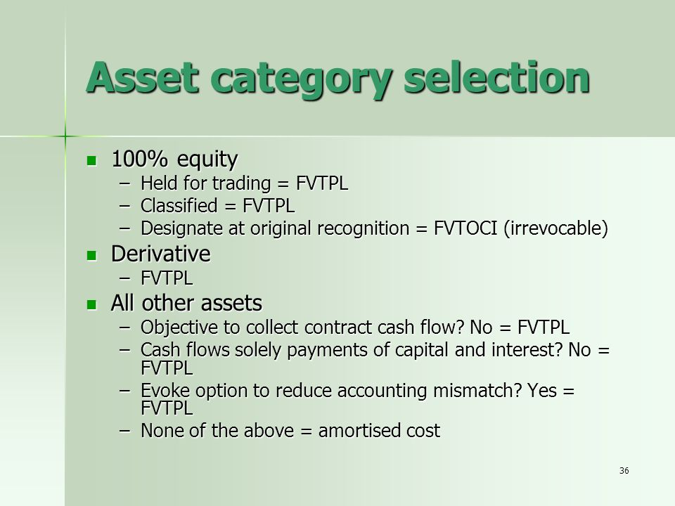 Asset category selection