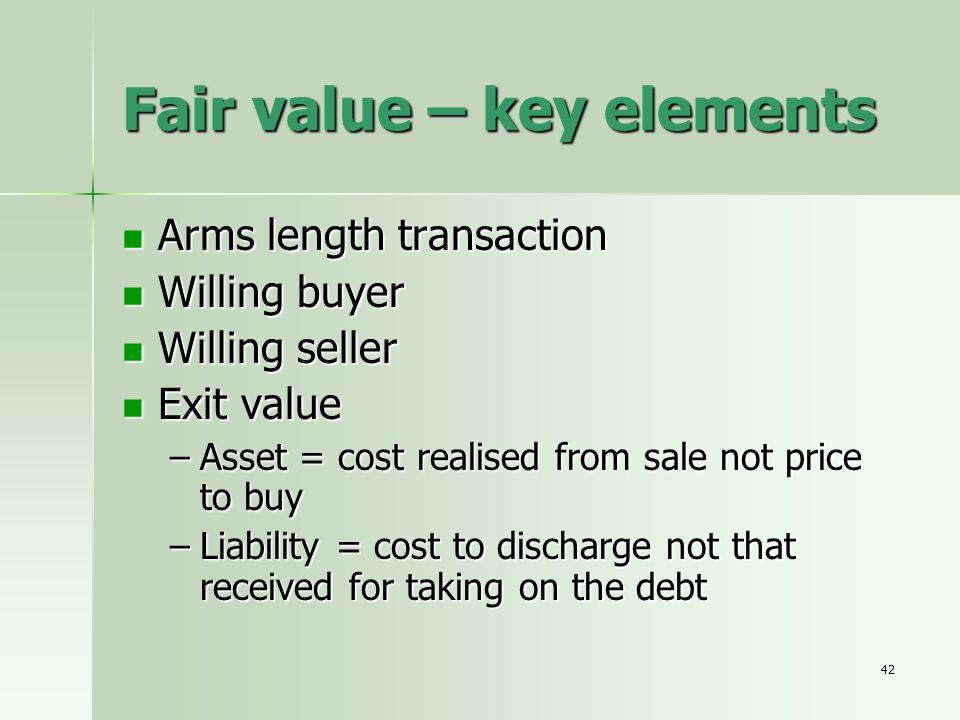 Fair value – key elements