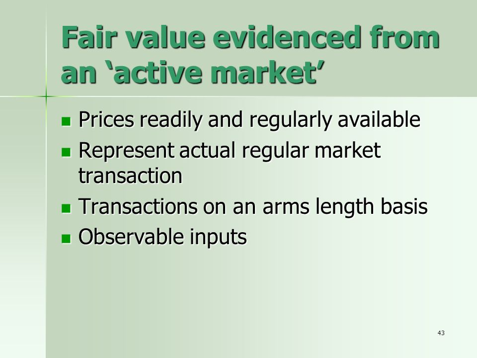 Fair value evidenced from an 'active market'