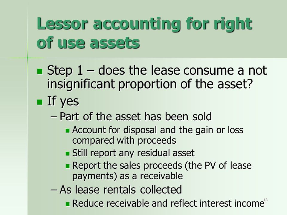 Lessor accounting for right of use assets