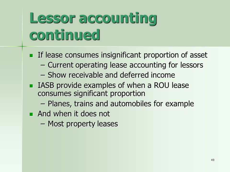 Lessor accounting continued