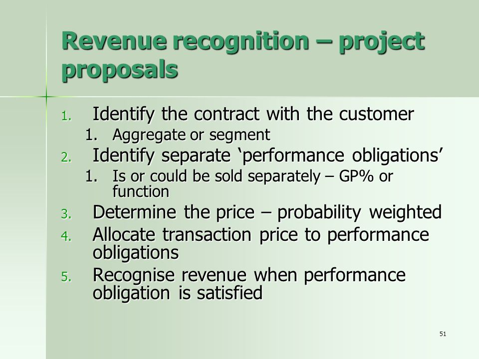 Revenue recognition – project proposals