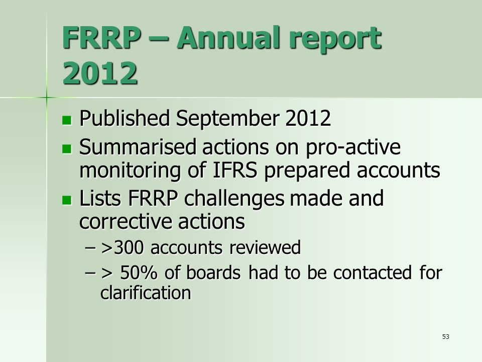 FRRP – Annual report 2012 Published September 2012