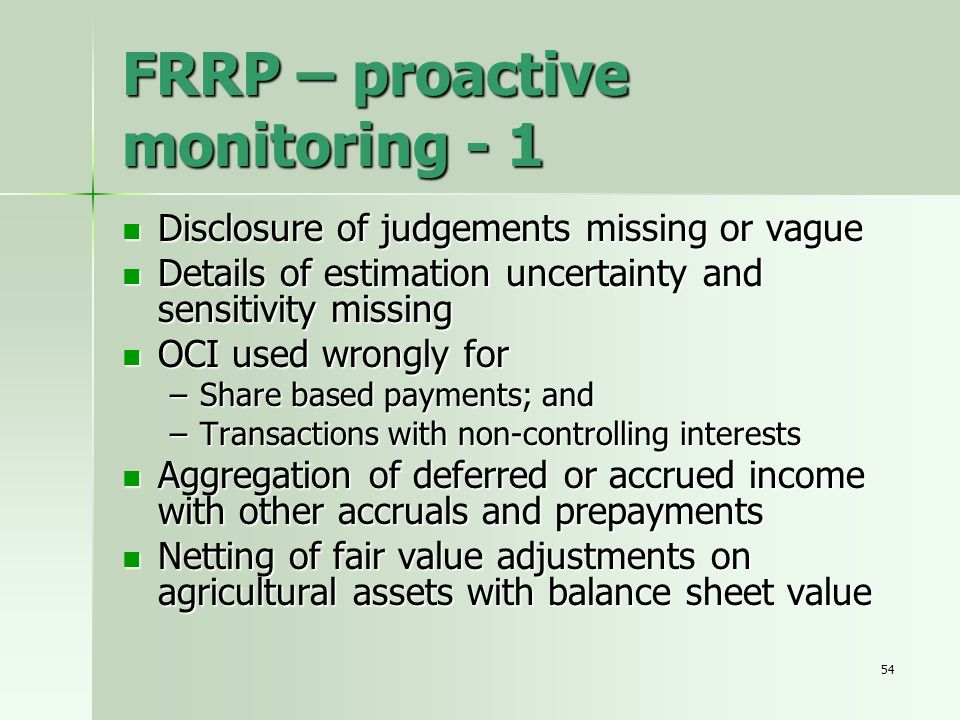 FRRP – proactive monitoring - 1