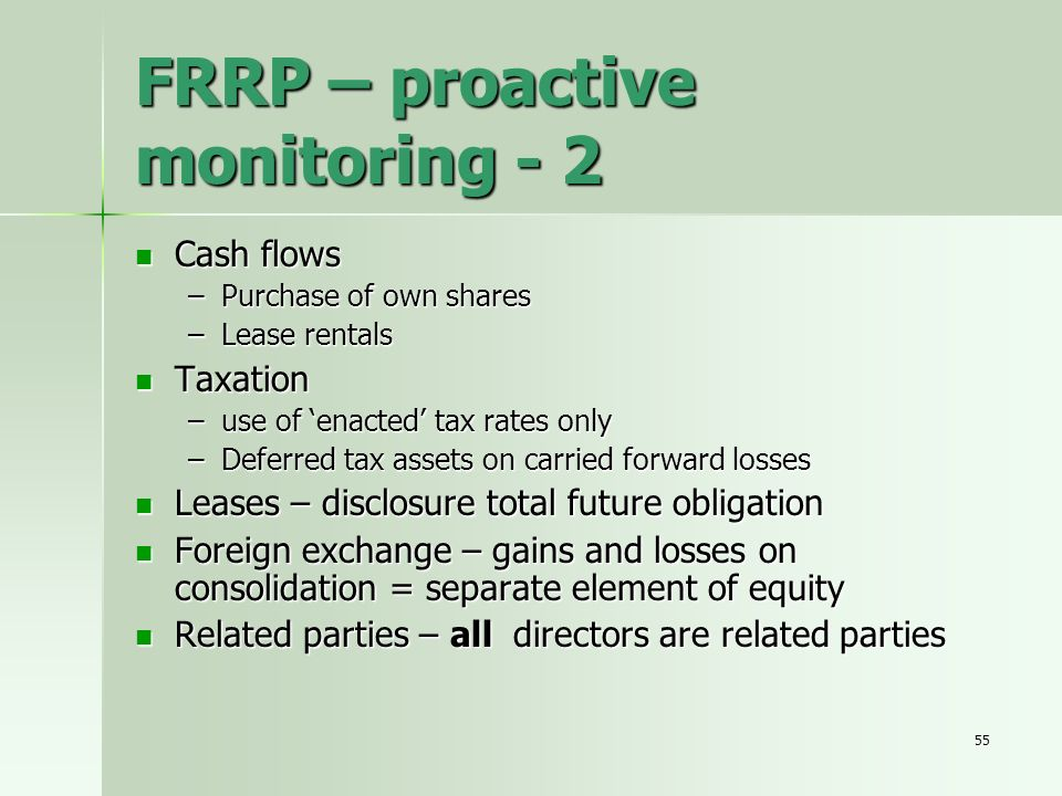 FRRP – proactive monitoring - 2