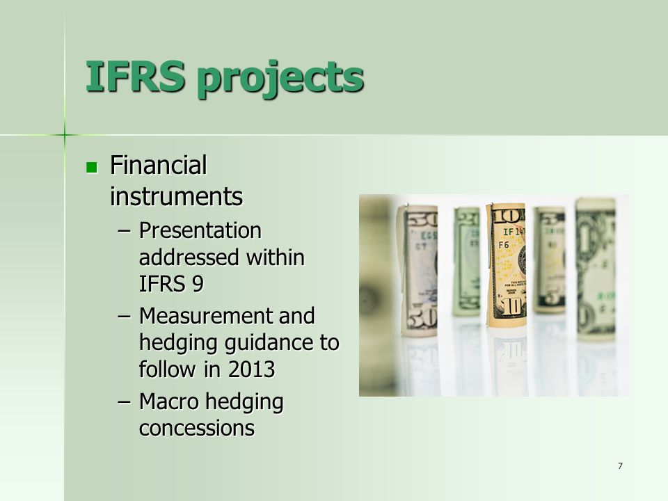 IFRS projects Financial instruments