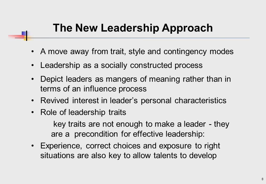 The New Leadership Approach