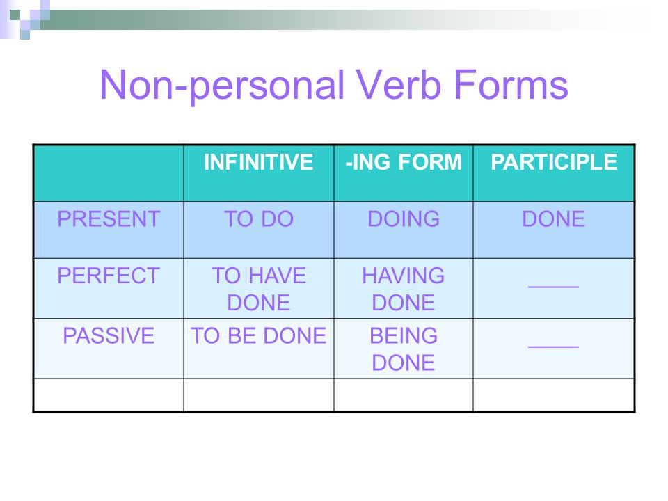 Non-personal Verb Forms