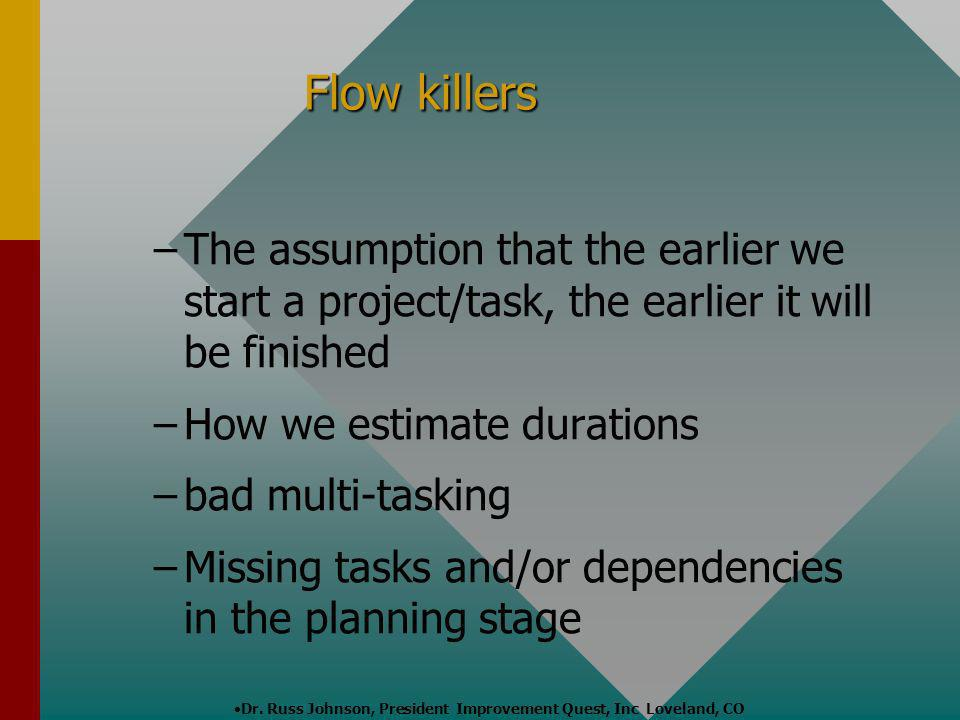 Flow killers The assumption that the earlier we start a project/task, the earlier it will be finished.