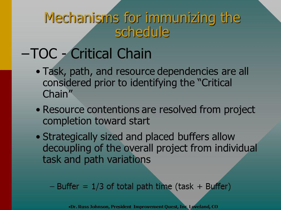 Mechanisms for immunizing the schedule