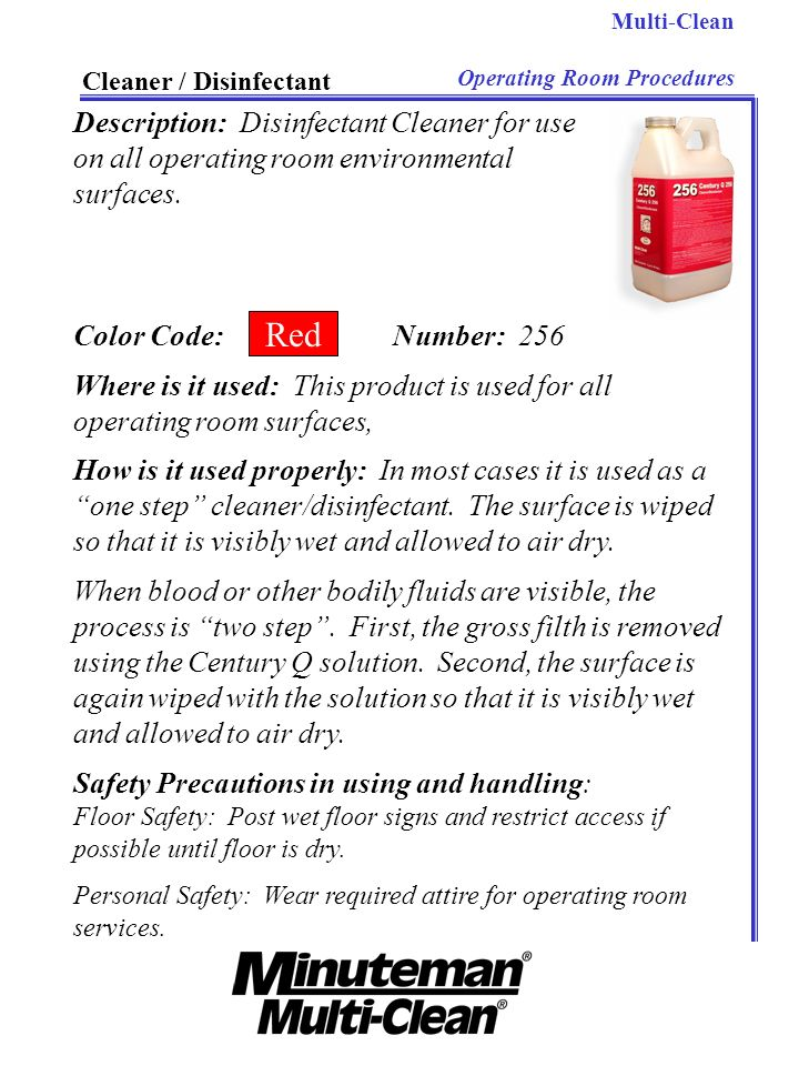 Red Description: Disinfectant Cleaner for use
