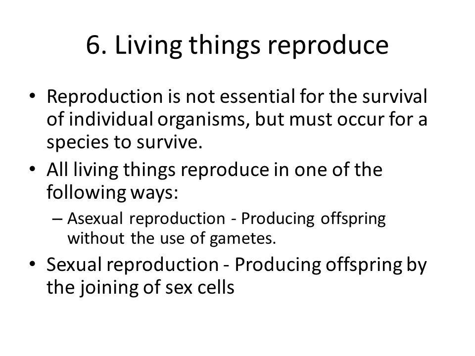 6. Living things reproduce