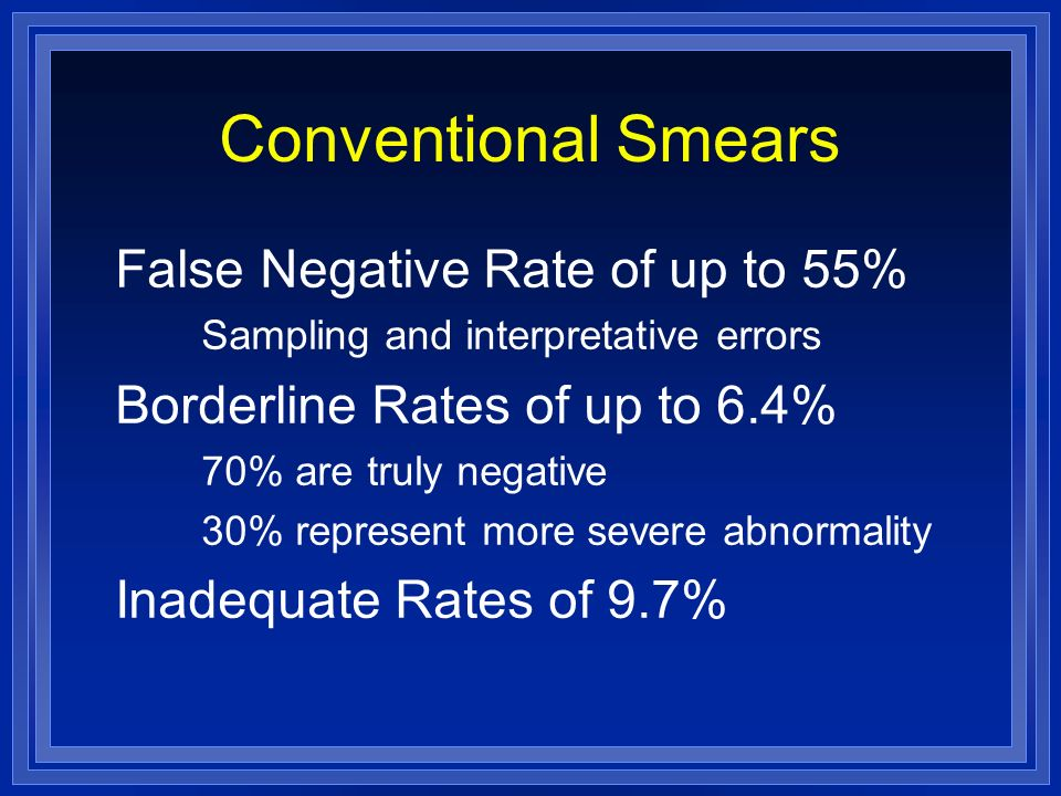 Conventional Smears False Negative Rate of up to 55%