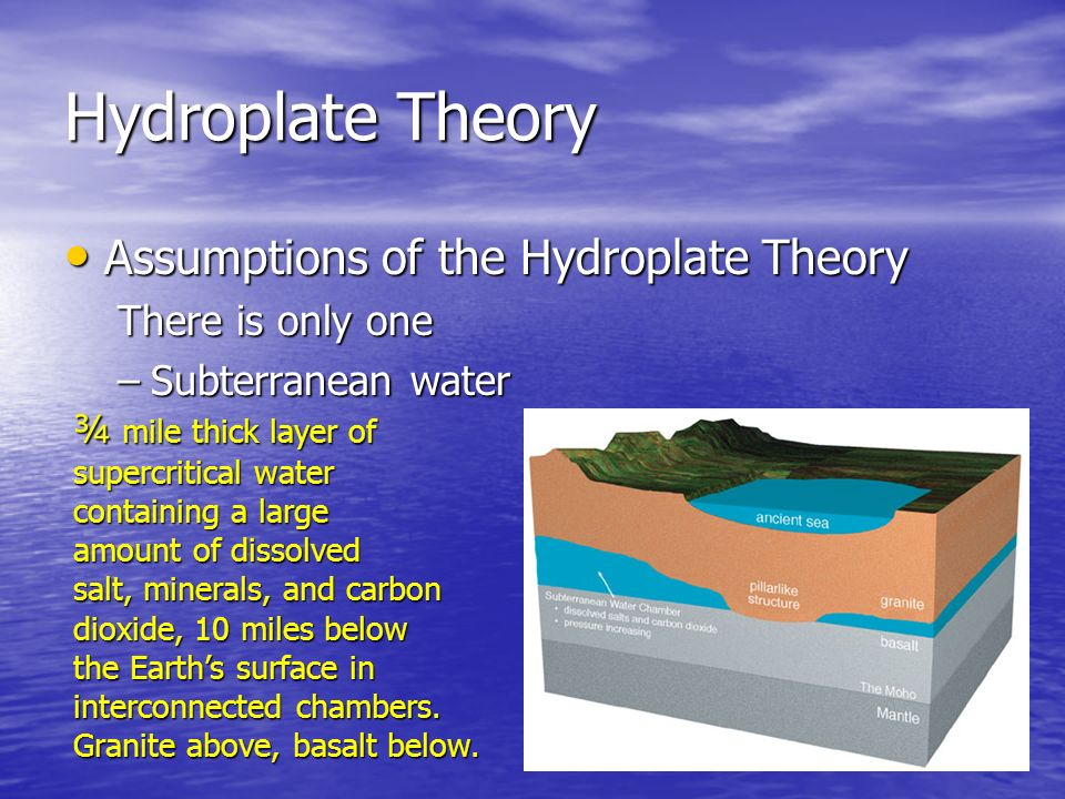 Hydroplate Theory Assumptions of the Hydroplate Theory