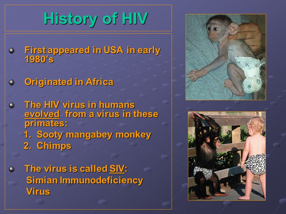 History of HIV First appeared in USA in early 1980's