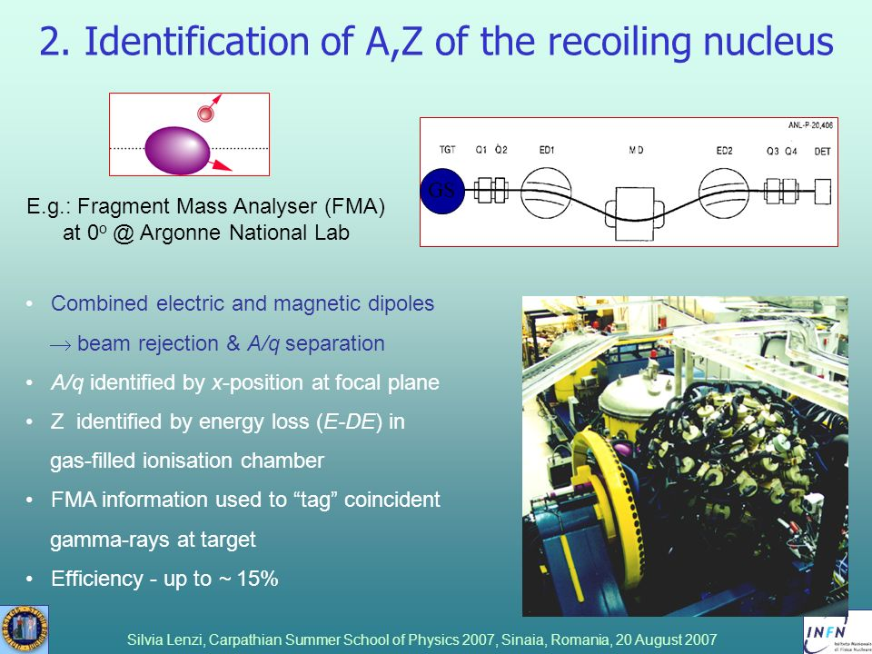 2. Identification of A,Z of the recoiling nucleus