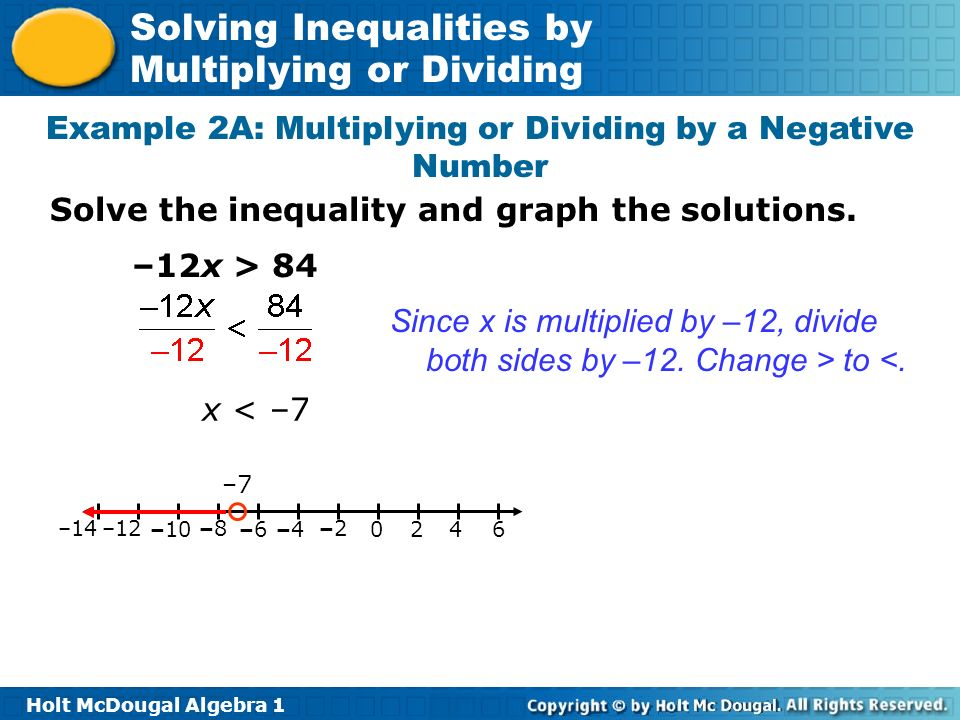 Example 2A: Multiplying or Dividing by a Negative Number