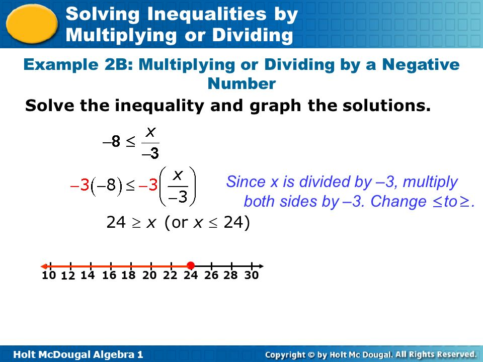 Example 2B: Multiplying or Dividing by a Negative Number