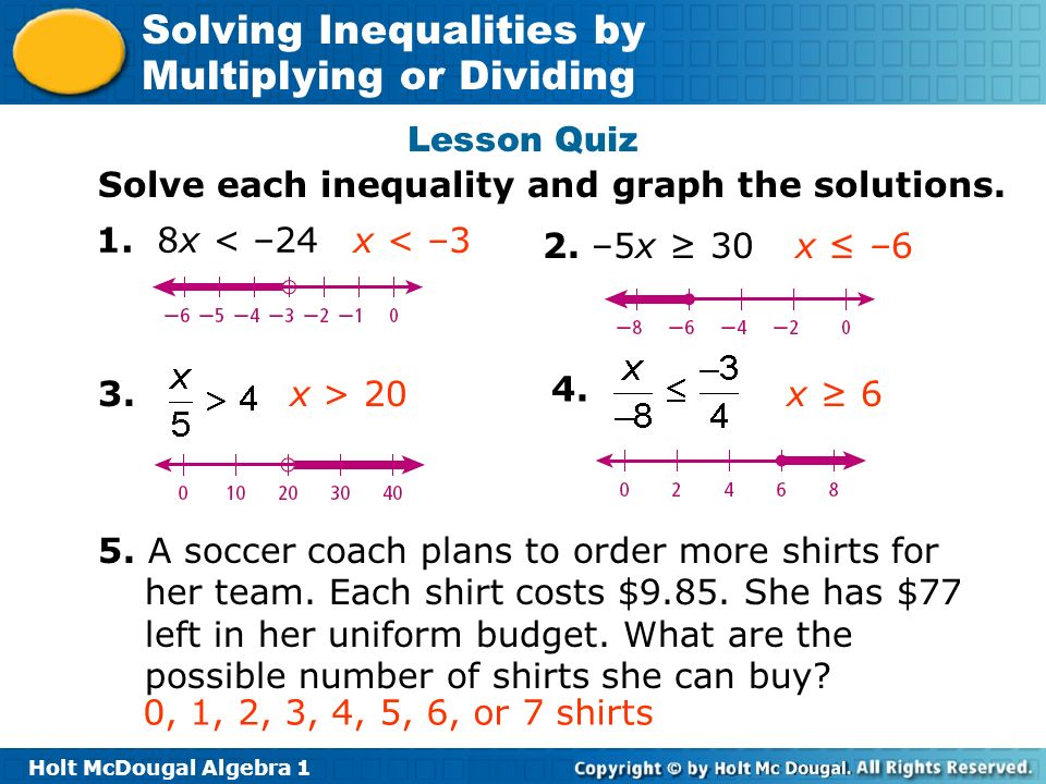 Lesson Quiz Solve each inequality and graph the solutions. 1. 8x < –24. x < –3. 2. –5x ≥ 30. x ≤ –6.