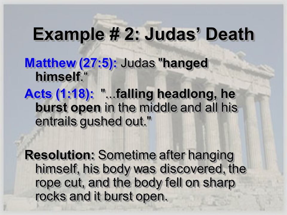 Example # 2: Judas' Death