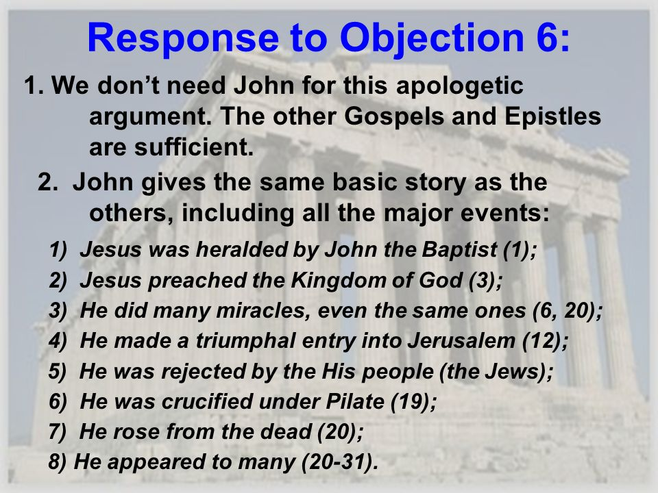 Response to Objection 6: