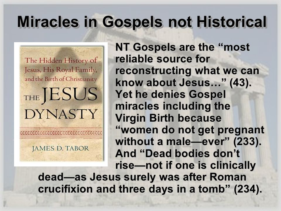 Miracles in Gospels not Historical