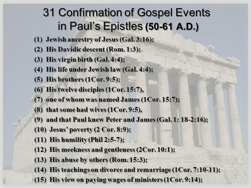 31 Confirmation of Gospel Events in Paul's Epistles (50-61 A.D.)