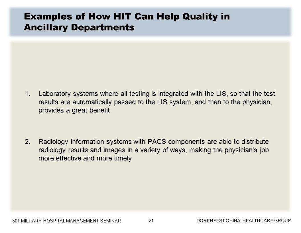Examples of How HIT Can Help Quality in Ancillary Departments