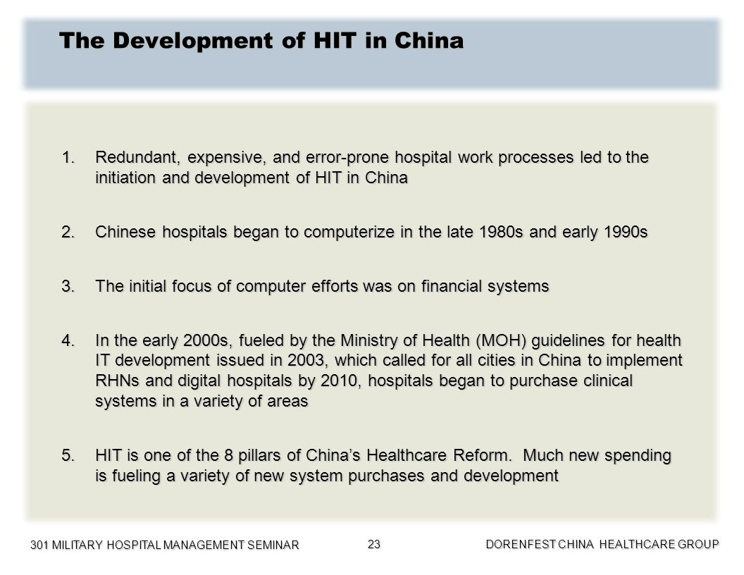 The Development of HIT in China