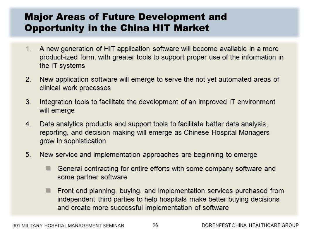 Major Areas of Future Development and Opportunity in the China HIT Market