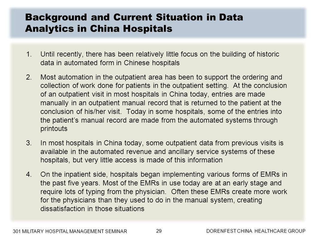 Background and Current Situation in Data Analytics in China Hospitals