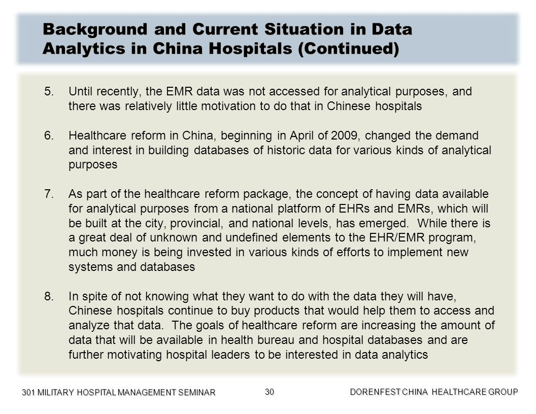 Background and Current Situation in Data Analytics in China Hospitals (Continued)