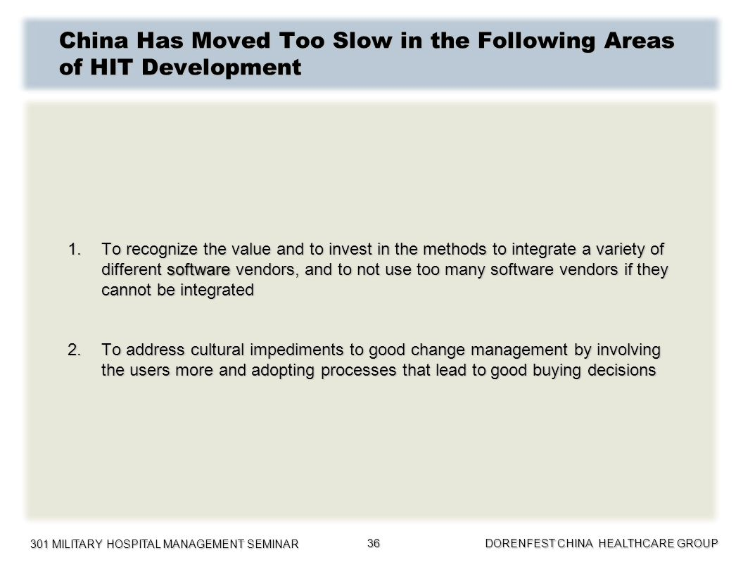 China Has Moved Too Slow in the Following Areas of HIT Development