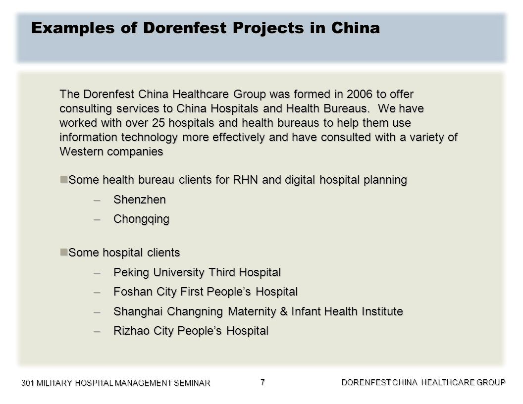 Examples of Dorenfest Projects in China