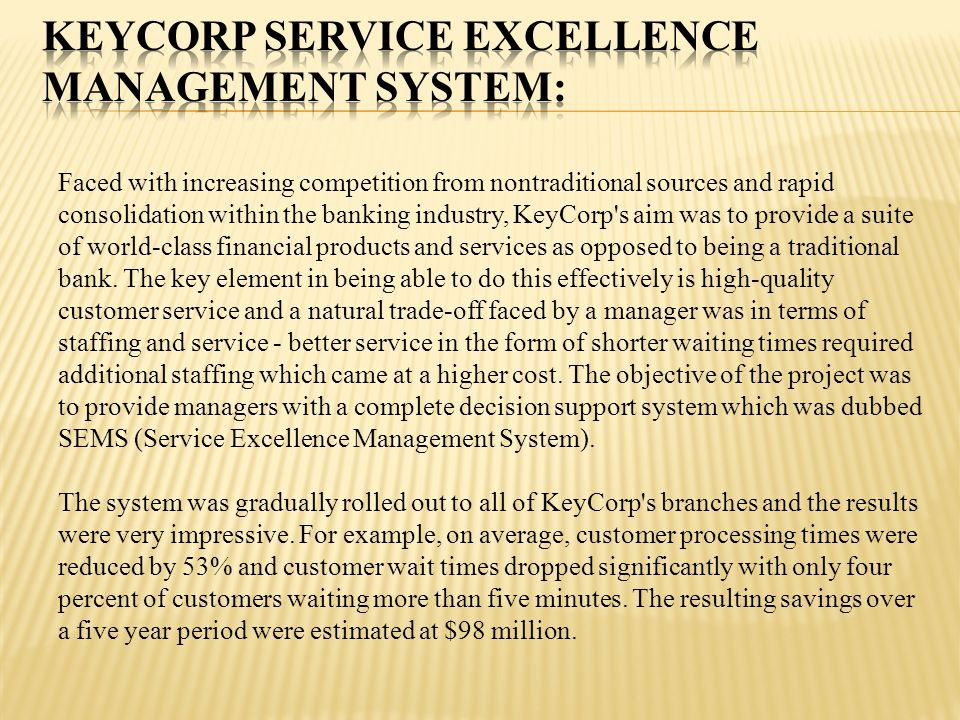 KeyCorp Service Excellence Management System:
