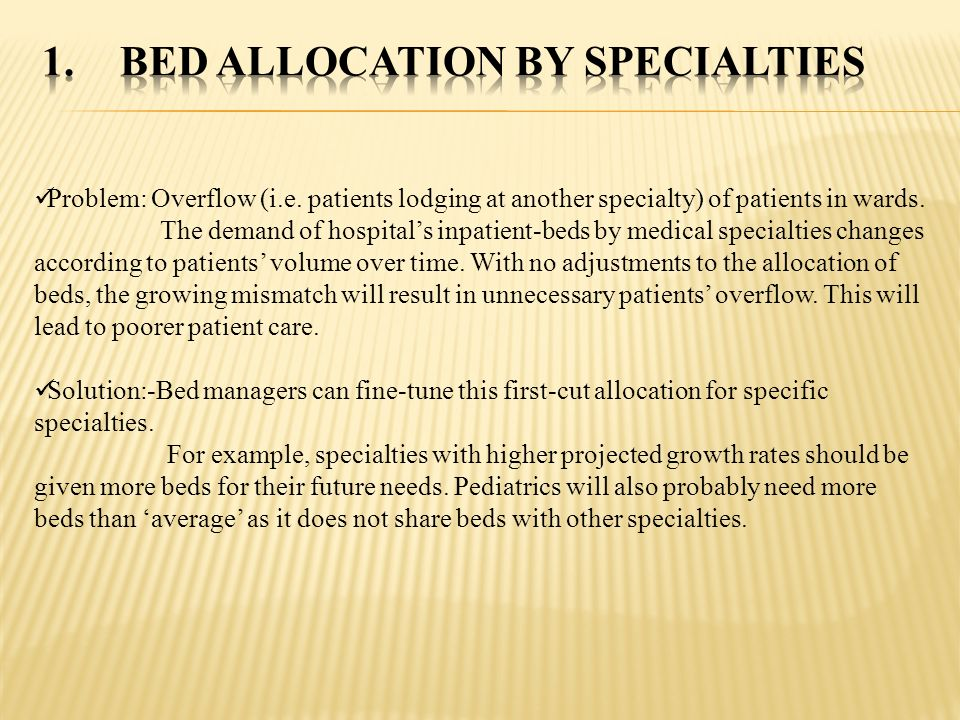 Bed allocation by specialties