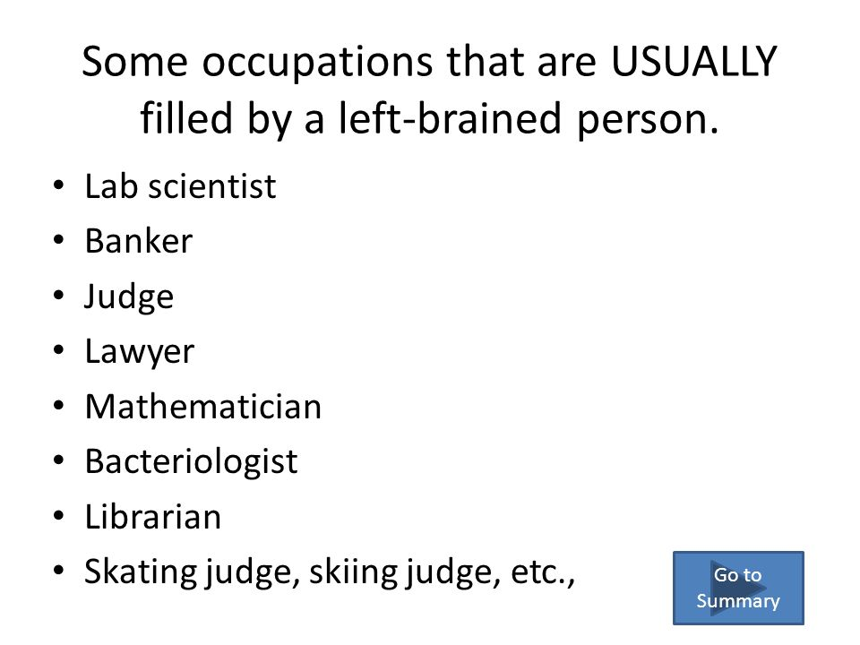 Some occupations that are USUALLY filled by a left-brained person.