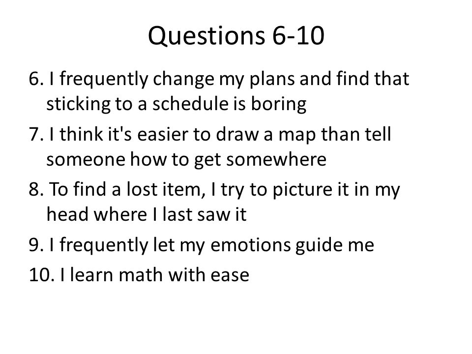 Questions 6-10