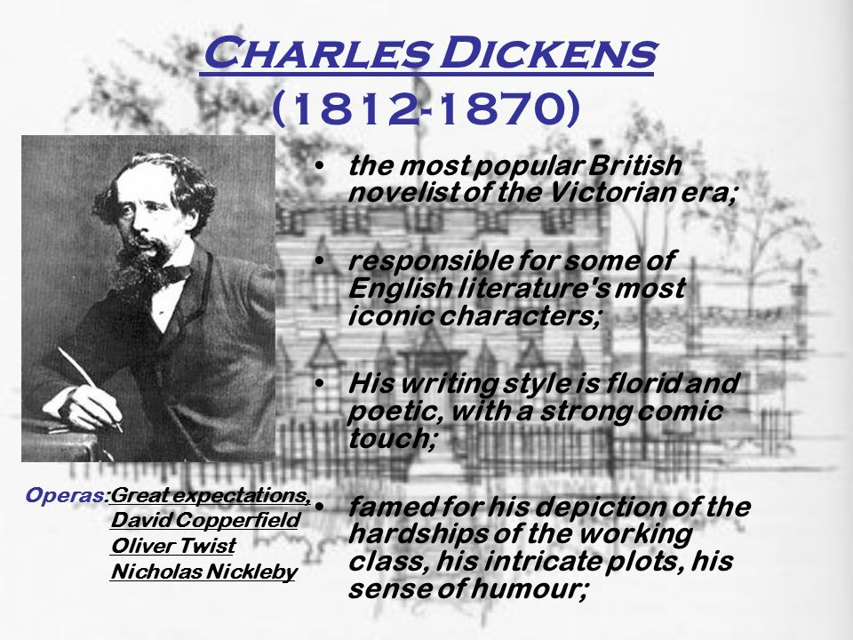 Charles Dickens ( ) the most popular British novelist of the Victorian era;