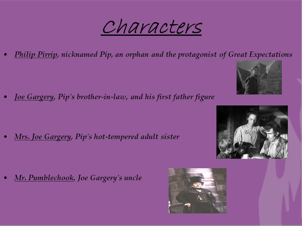character analysis of pip in great expectations by charles dickens Dickens generously gives pip four father figures in the book to model this for him joe makes his choice to stay with mrs joe and show her more love than his mother had, fully accepting the cost of enduring her abuse.