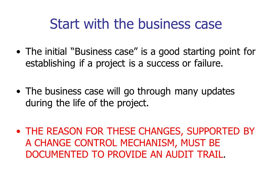 Start with the business case