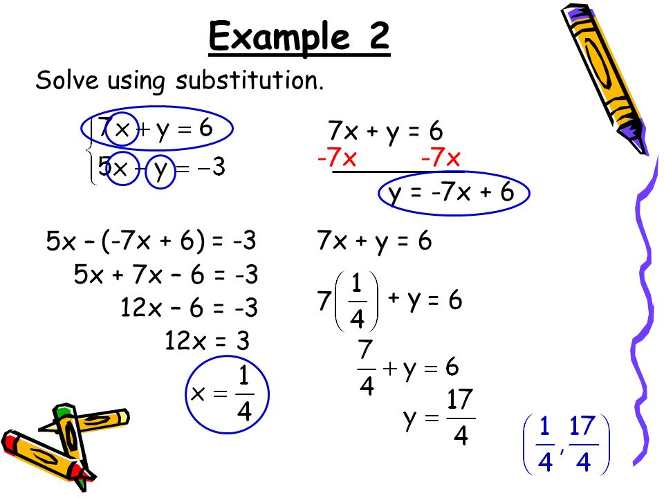 Example 2 Solve using substitution. 7x + y = 6 -7x -7x y = -7x + 6